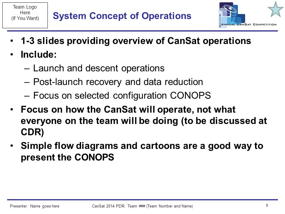 Team Logo Here (If You Want) CanSat 2014 PDR: Team ### (Team Number and Name) 9 System Concept of Operations 1-3 slides providing overview of CanSat operations Include: –Launch and descent operations –Post-launch recovery and data reduction –Focus on selected configuration CONOPS Focus on how the CanSat will operate, not what everyone on the team will be doing (to be discussed at CDR) Simple flow diagrams and cartoons are a good way to present the CONOPS Presenter: Name goes here