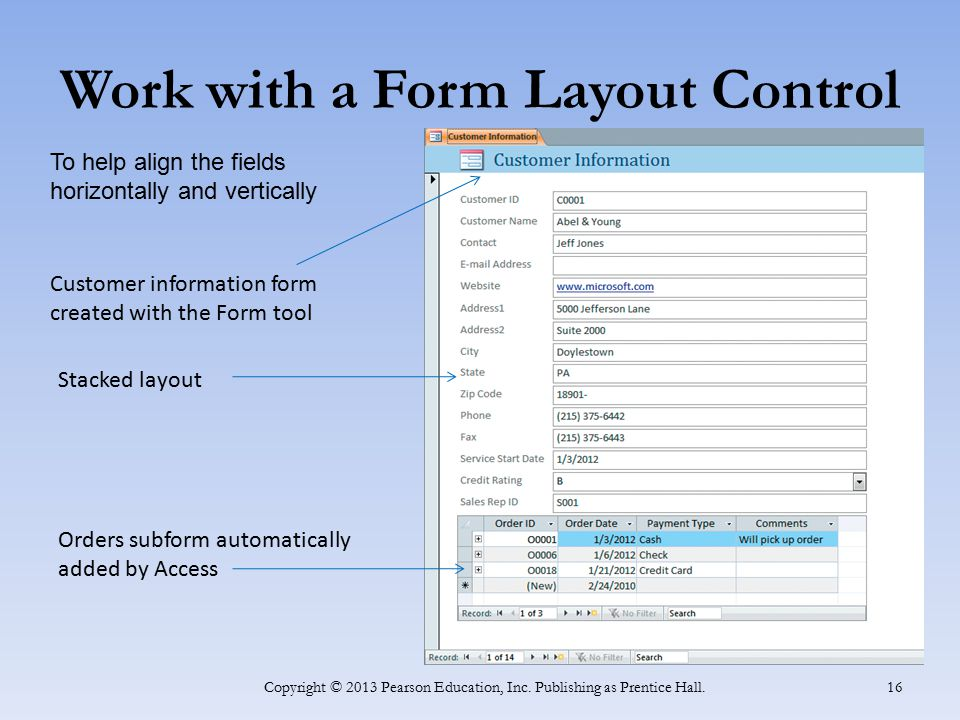 Work with a Form Layout Control Copyright © 2013 Pearson Education, Inc. Publishing as Prentice Hall. 16 Customer information form created with the Fo