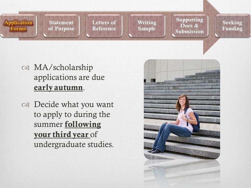  MA/scholarship applications are due early autumn.