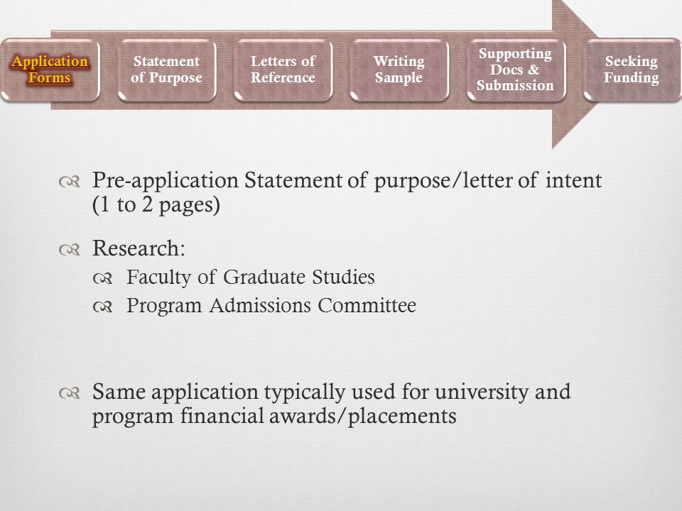  Pre-application Statement of purpose/letter of intent (1 to 2 pages)  Research:  Faculty of Graduate Studies  Program Admissions Committee  Same application typically used for university and program financial awards/placements Statement of Purpose Letters of Reference Writing Sample Supporting Docs & Submission Seeking Funding