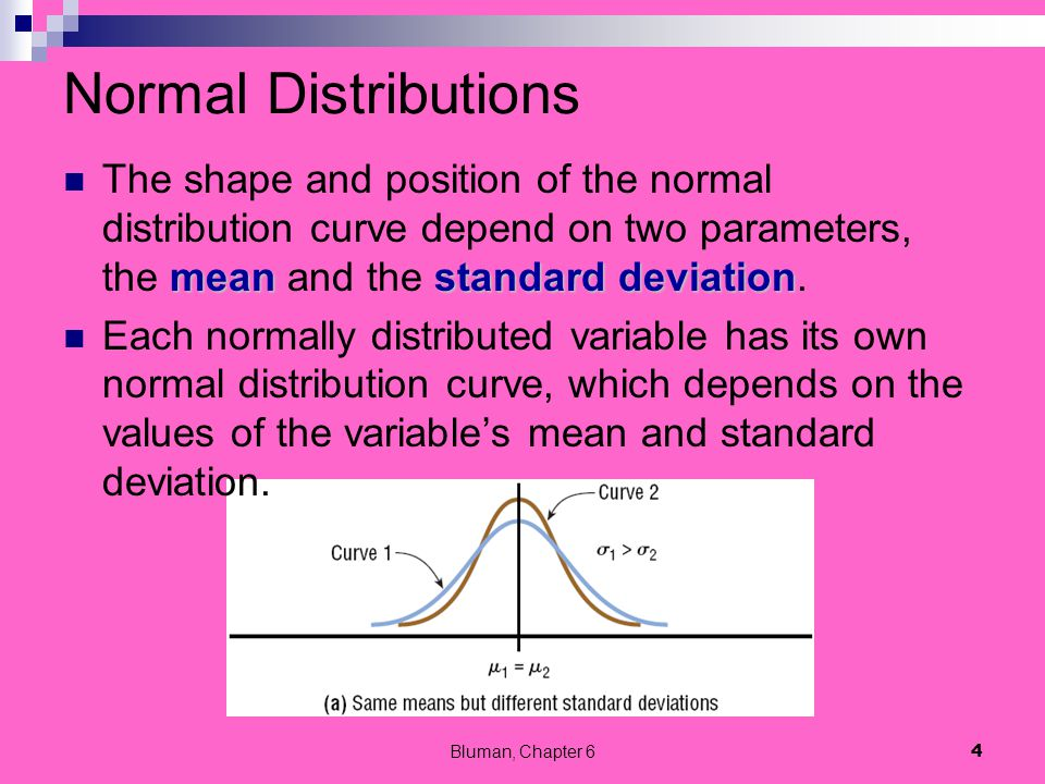 Normal Distributions meanstandard deviation The shape and position of the normal distribution curve depend on two parameters, the mean and the standar