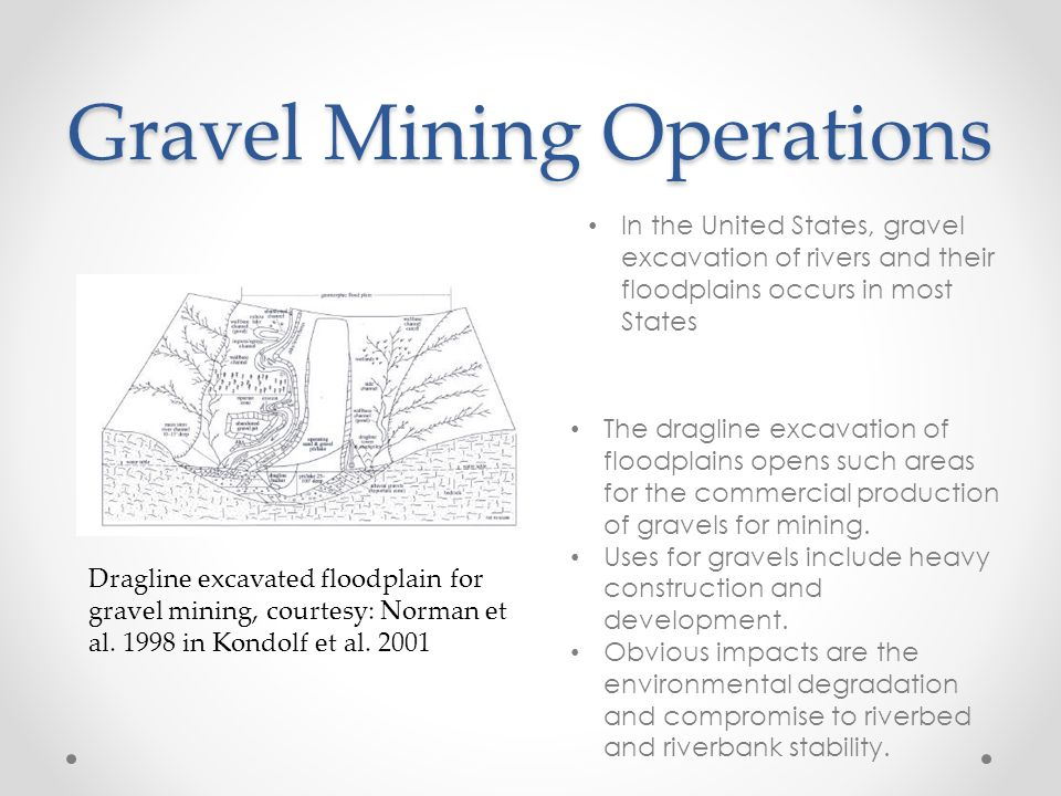 Gravel Mining Operations Dragline excavated floodplain for gravel mining, courtesy: Norman et al.