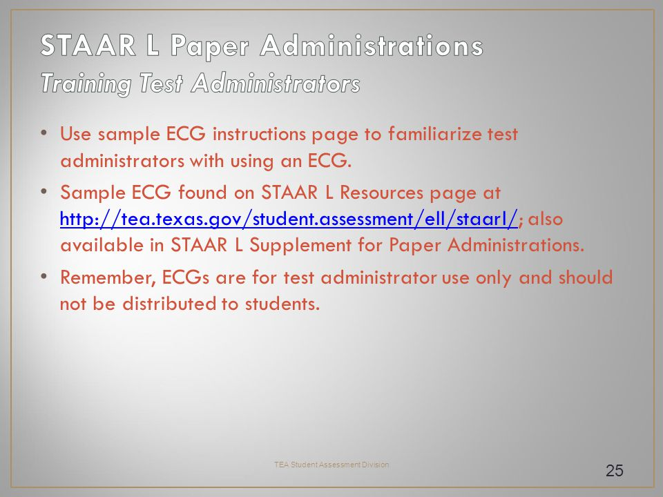 Use sample ECG instructions page to familiarize test administrators with using an ECG.