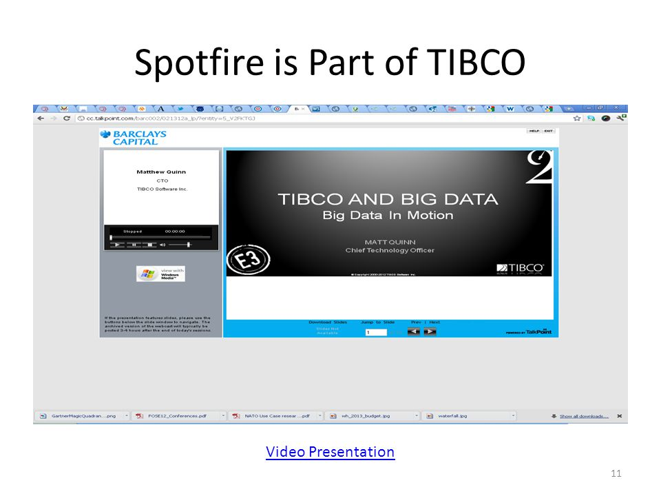 Spotfire is Part of TIBCO Video Presentation 11