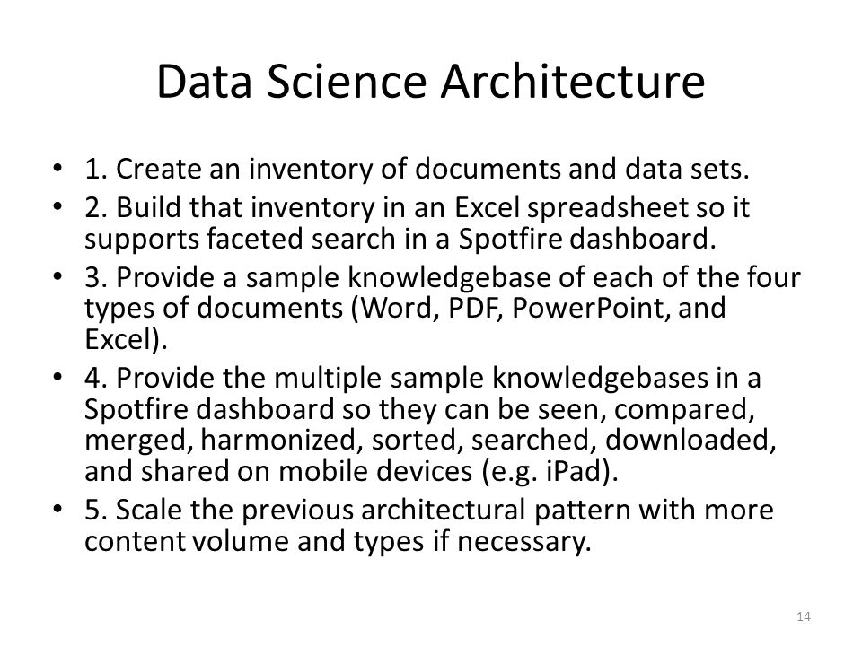 Data Science Architecture 1. Create an inventory of documents and data sets. 2. Build that inventory in an Excel spreadsheet so it supports faceted se