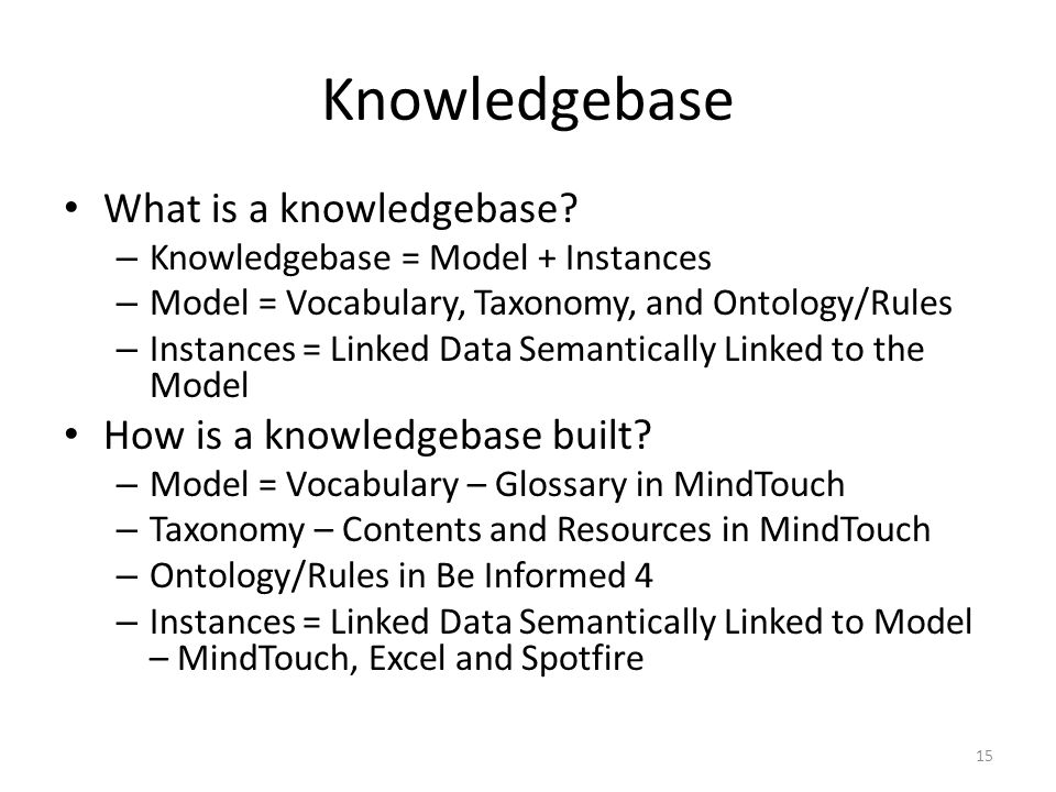 Knowledgebase What is a knowledgebase? – Knowledgebase = Model + Instances – Model = Vocabulary, Taxonomy, and Ontology/Rules – Instances = Linked Dat