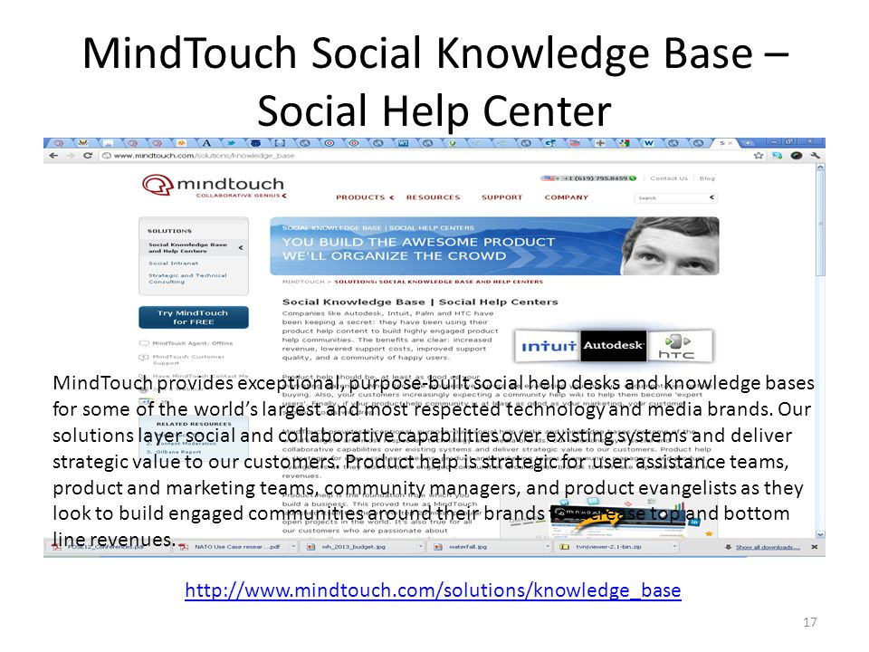 MindTouch Social Knowledge Base – Social Help Center http://www.mindtouch.com/solutions/knowledge_base MindTouch provides exceptional, purpose-built s