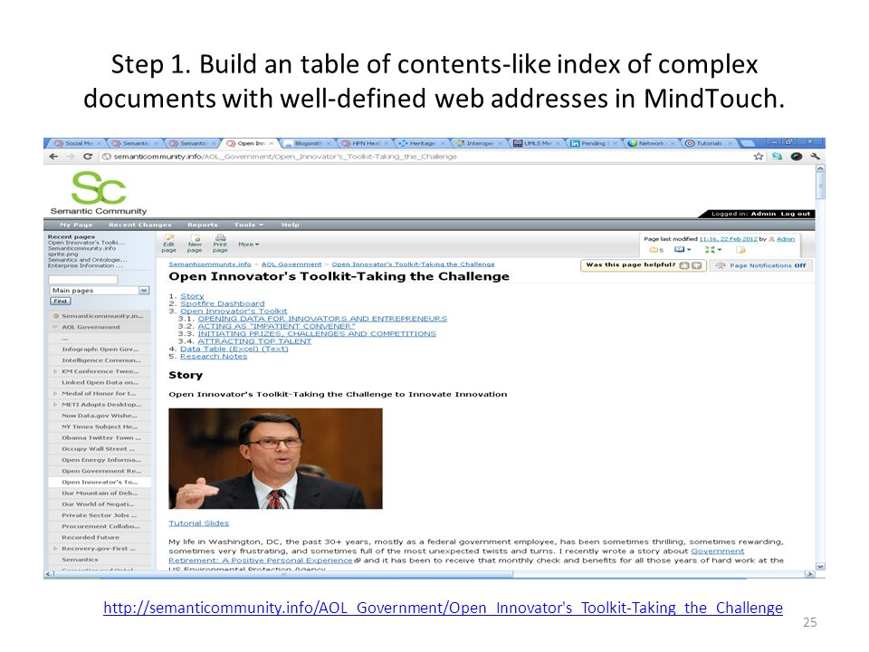 Step 1. Build an table of contents-like index of complex documents with well-defined web addresses in MindTouch. 25 http://semanticommunity.info/AOL_G