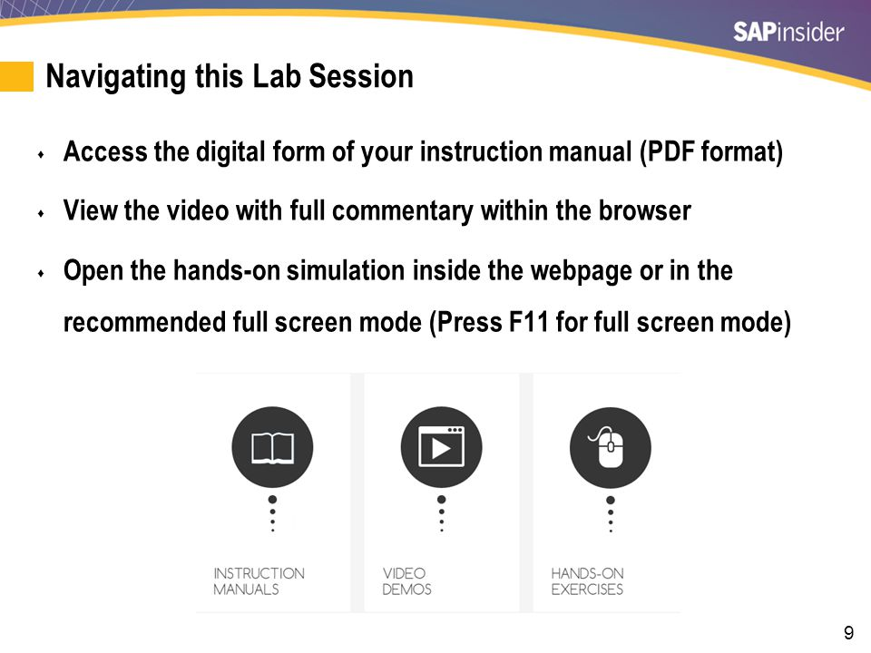 9 Navigating this Lab Session  Access the digital form of your instruction manual (PDF format)  View the video with full commentary within the brows