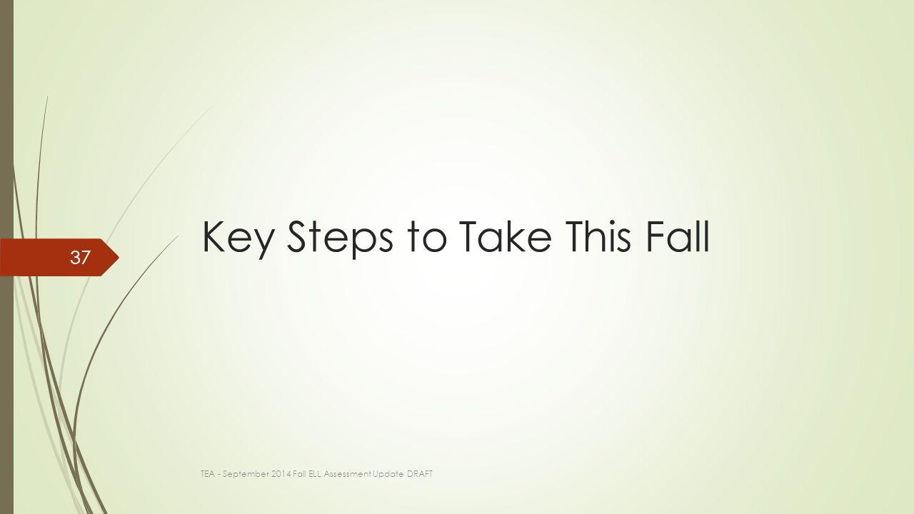 Key Steps to Take This Fall TEA - September 2014 Fall ELL Assessment Update DRAFT 37