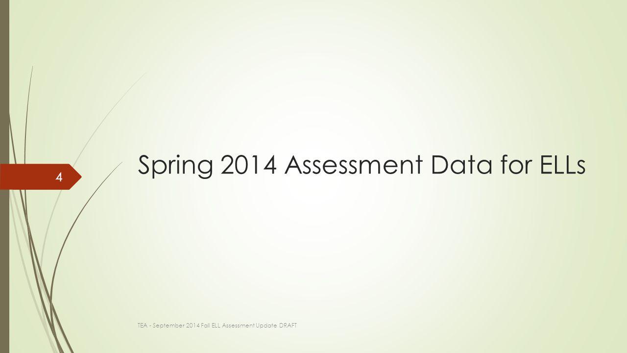 Spring 2014 Assessment Data for ELLs TEA - September 2014 Fall ELL Assessment Update DRAFT 4