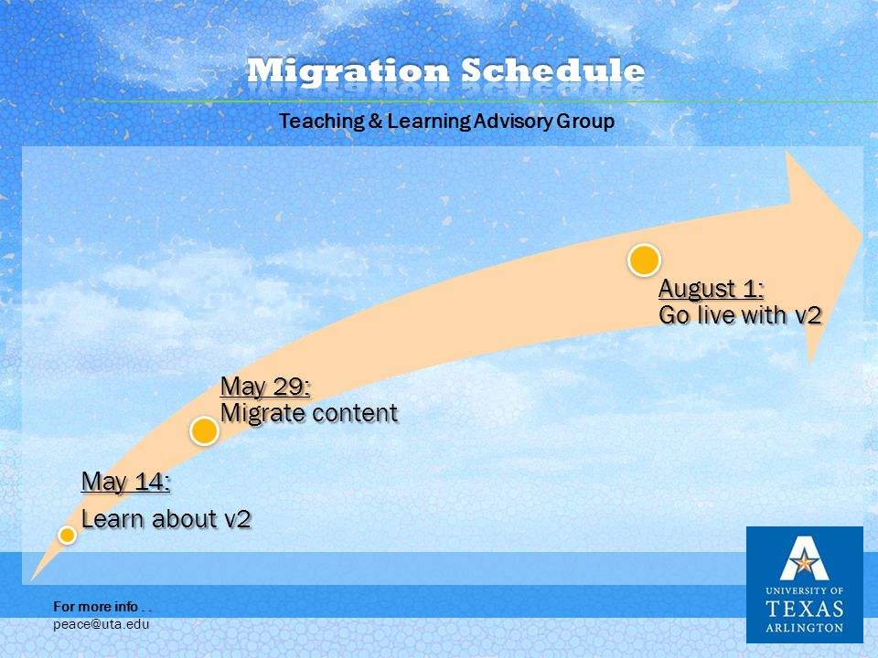 May 14: Learn about v2 May 29: Migrate content August 1: Go live with v2 Teaching & Learning Advisory Group For more info..