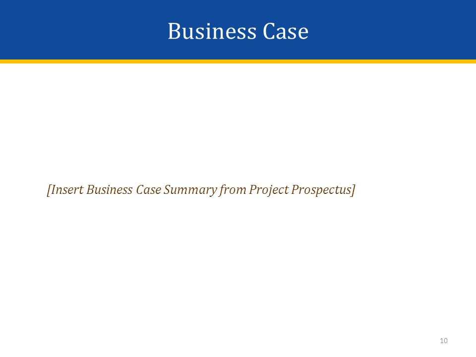10 [Insert Business Case Summary from Project Prospectus] Business Case