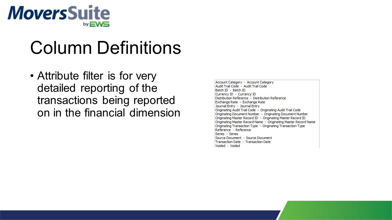 Column Definitions Attribute filter is for very detailed reporting of the transactions being reported on in the financial dimension