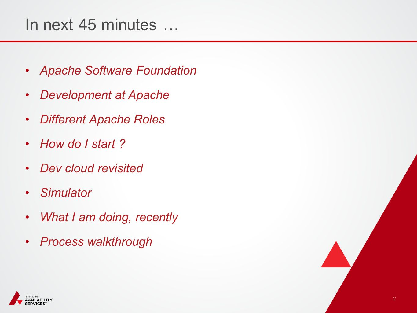 In next 45 minutes … Apache Software Foundation Development at Apache Different Apache Roles How do I start .