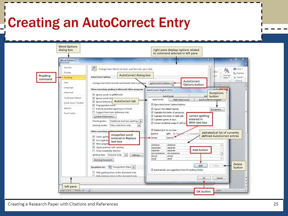 Creating a Research Paper with Citations and References25 Creating an AutoCorrect Entry