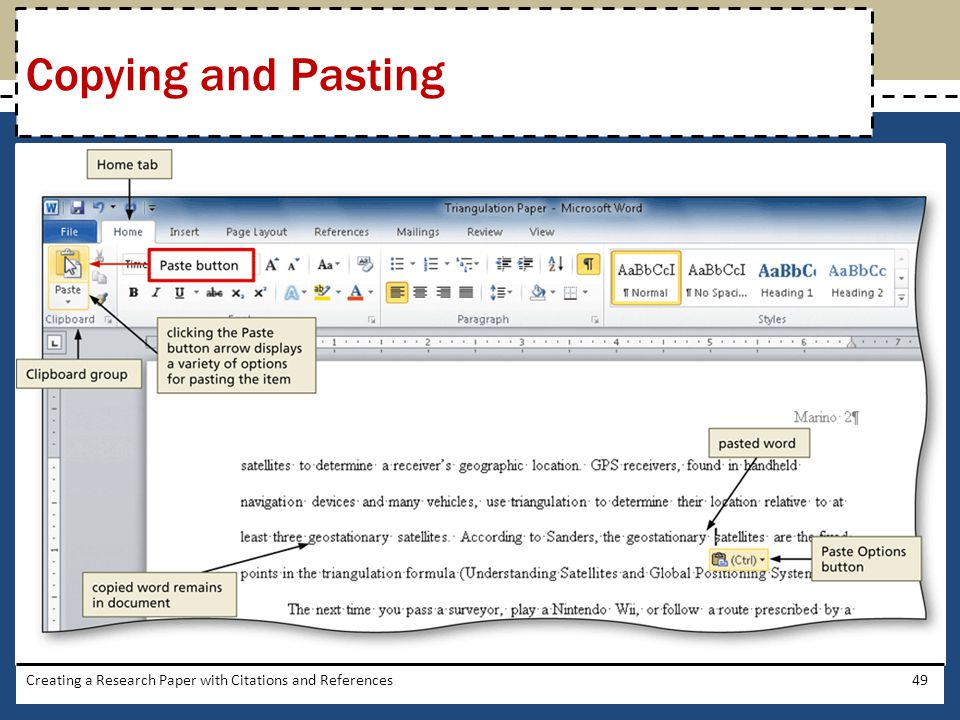 Creating a Research Paper with Citations and References49 Copying and Pasting