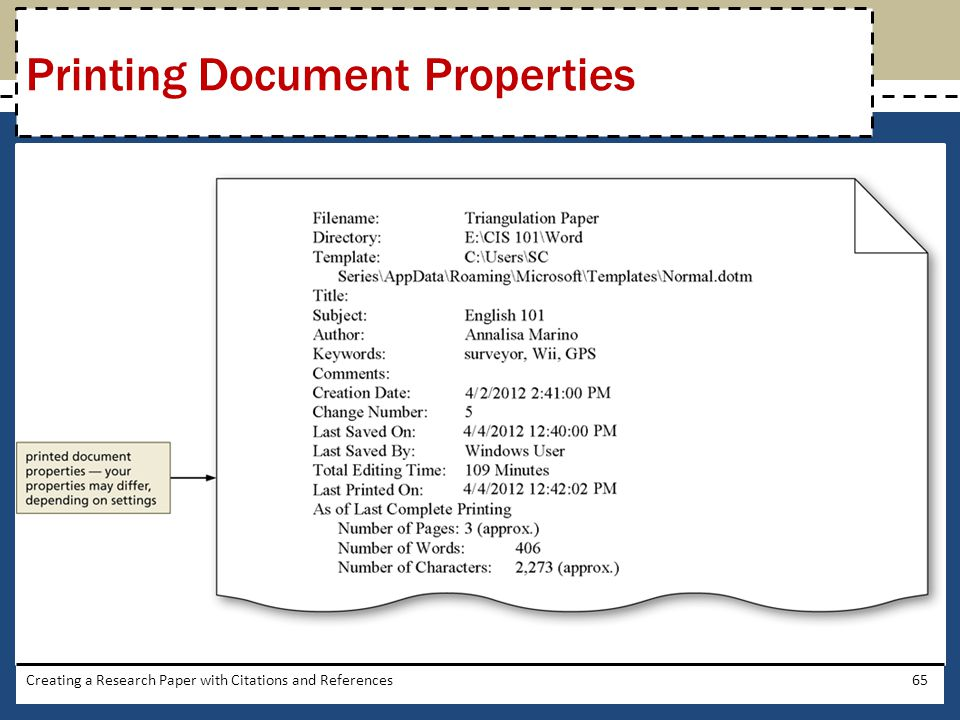 Creating a Research Paper with Citations and References65 Printing Document Properties