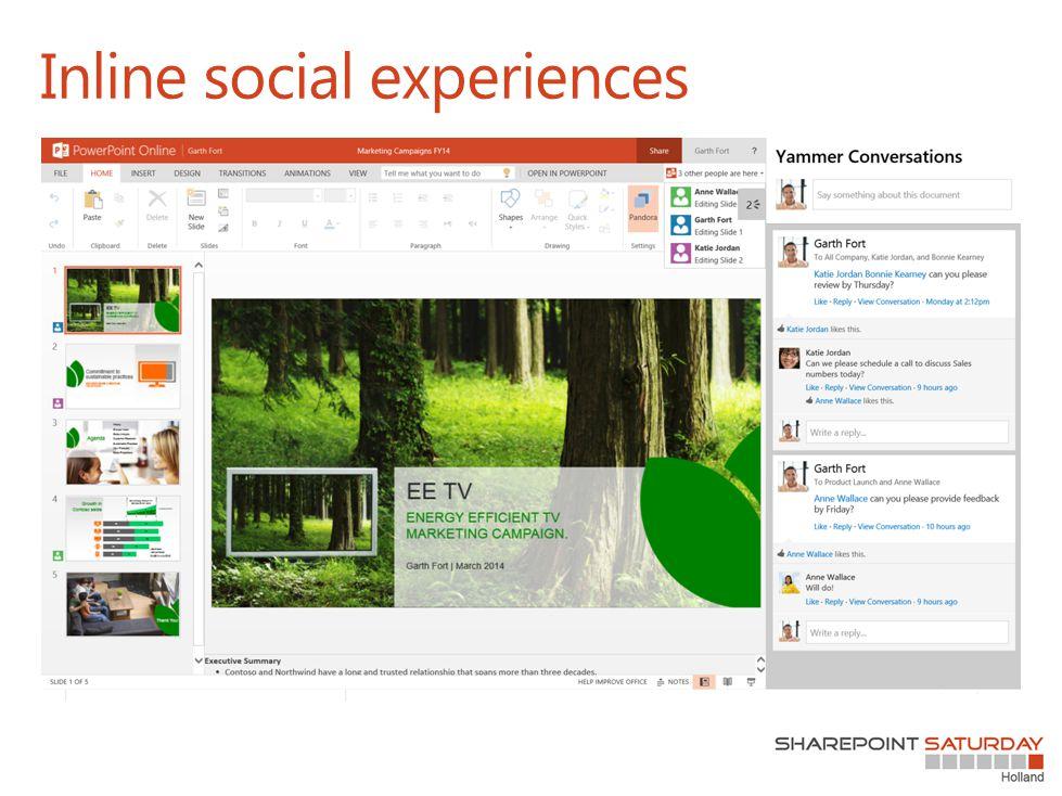 Inline social experiences