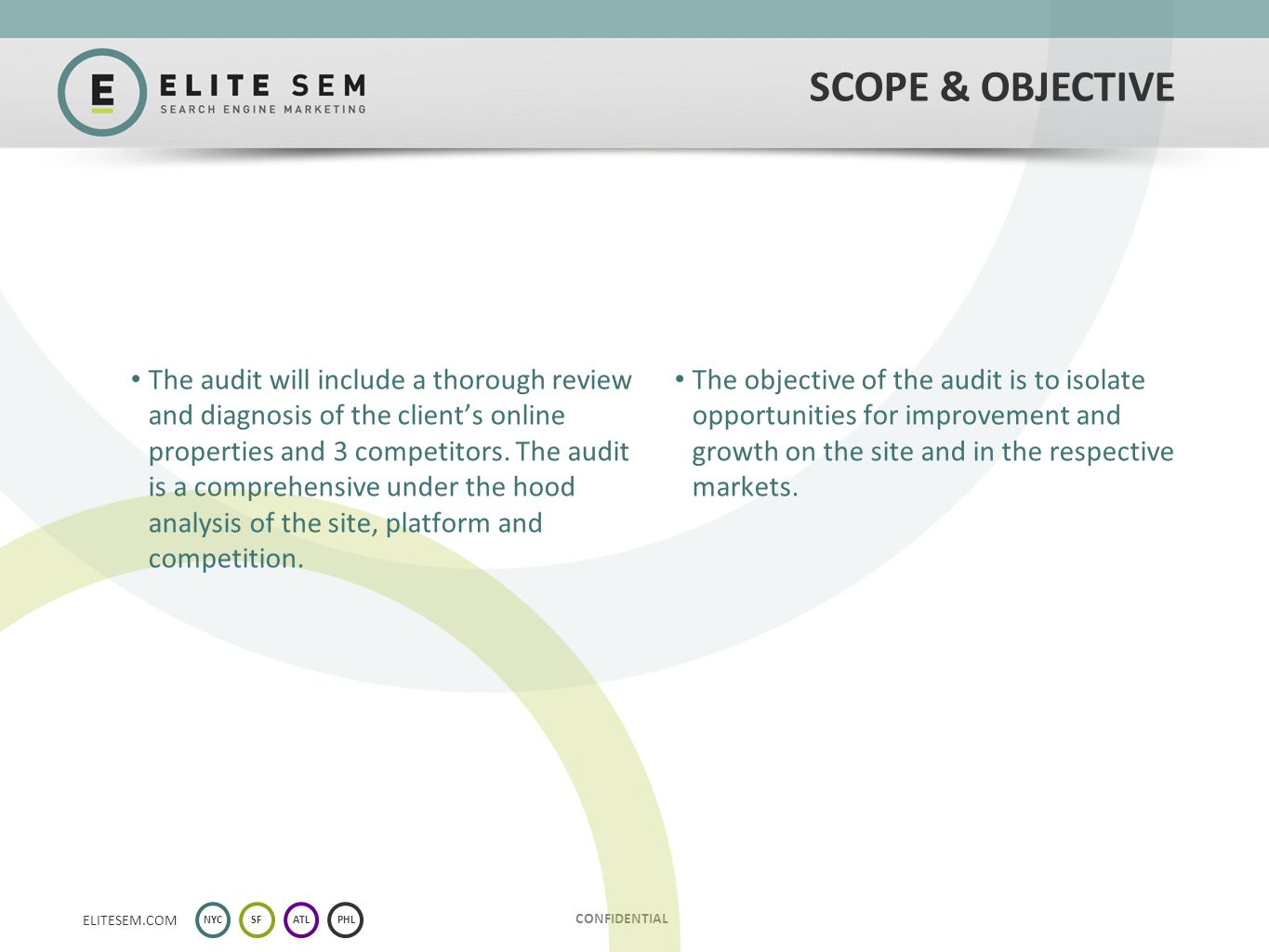 NYCSFATLPHL ELITESEM.COM CONFIDENTIAL SCOPE & OBJECTIVE The audit will include a thorough review and diagnosis of the client's online properties and 3 competitors.