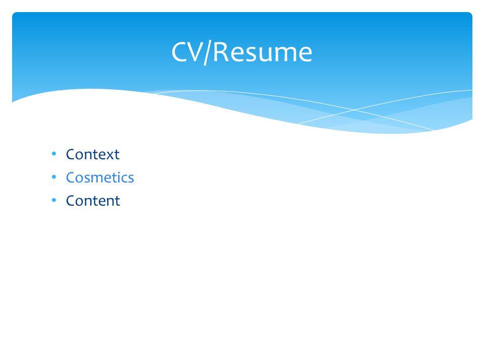 Context Cosmetics Content CV/Resume