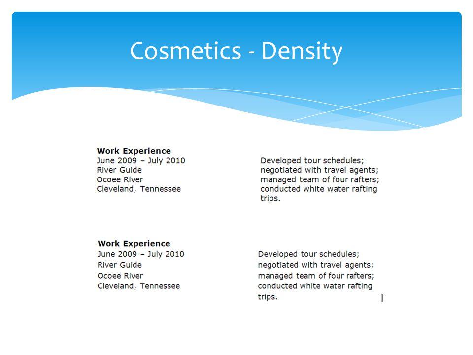 Cosmetics - Density