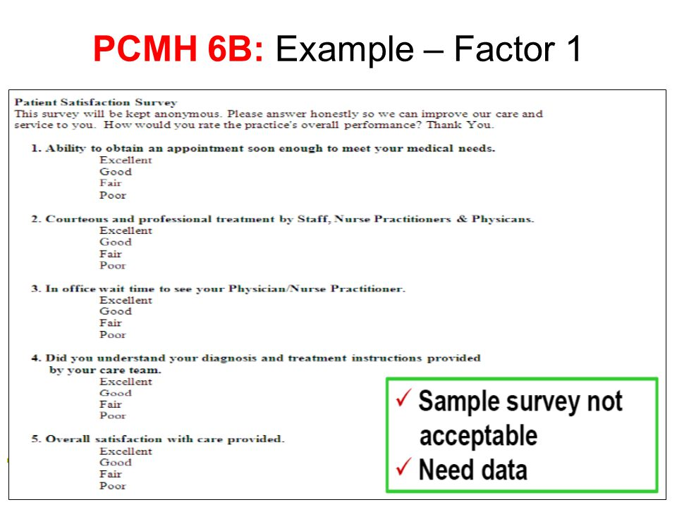 PCMH 6B: Example – Factor 1