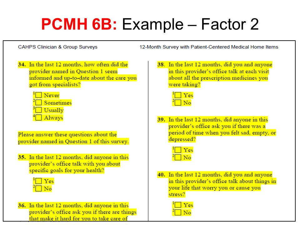 PCMH 6B: Example – Factor 2