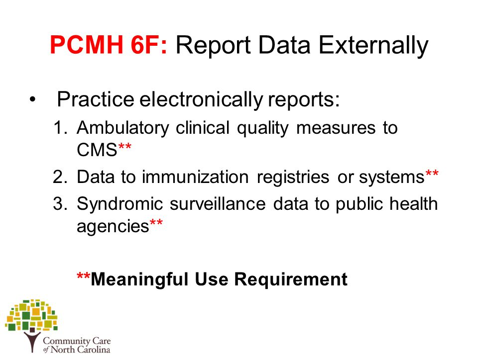 PCMH 6F: Report Data Externally Practice electronically reports: 1.Ambulatory clinical quality measures to CMS** 2.Data to immunization registries or systems** 3.Syndromic surveillance data to public health agencies** **Meaningful Use Requirement