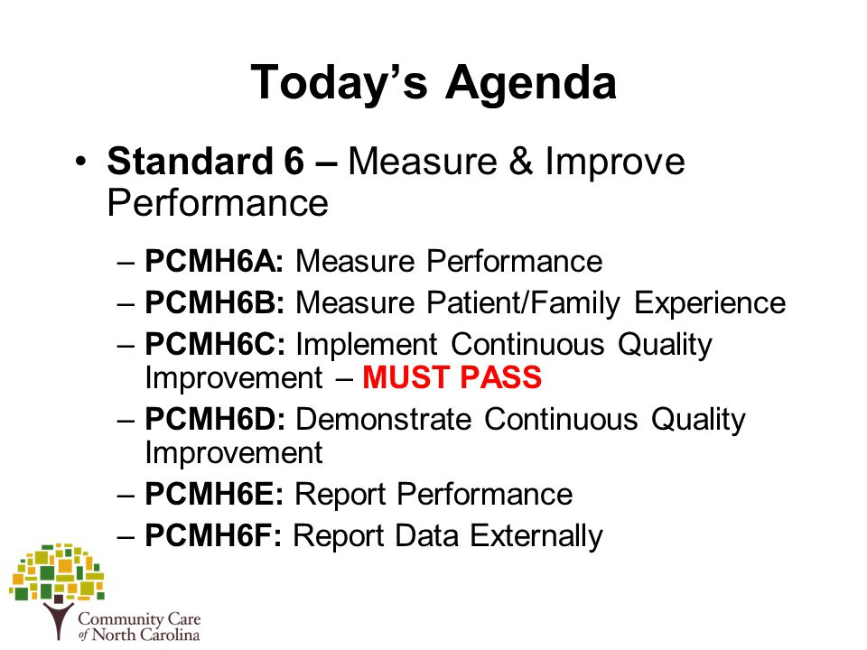 Today's Agenda Standard 6 – Measure & Improve Performance –PCMH6A: Measure Performance –PCMH6B: Measure Patient/Family Experience –PCMH6C: Implement Continuous Quality Improvement – MUST PASS –PCMH6D: Demonstrate Continuous Quality Improvement –PCMH6E: Report Performance –PCMH6F: Report Data Externally