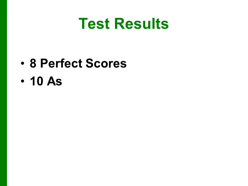 Test Results 8 Perfect Scores 10 As