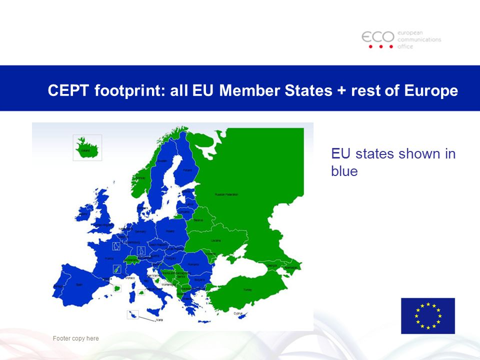 CEPT footprint: all EU Member States + rest of Europe Footer copy here EU states shown in blue