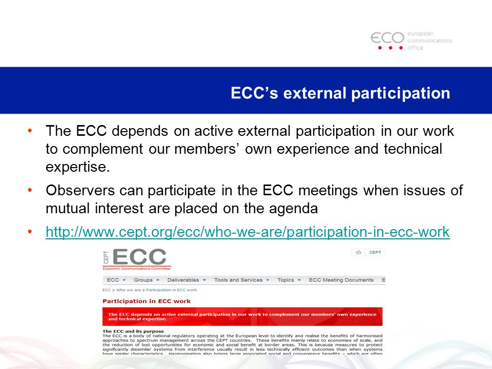 ECC's external participation The ECC depends on active external participation in our work to complement our members' own experience and technical expe