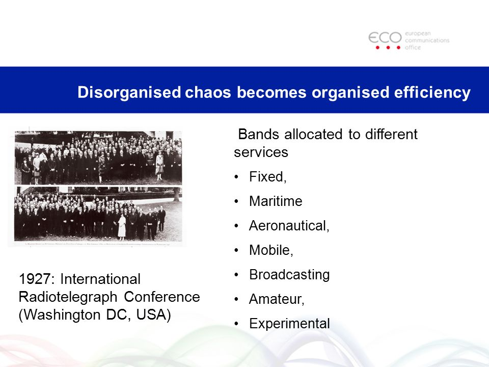 Disorganised chaos becomes organised efficiency Bands allocated to different services Fixed, Maritime Aeronautical, Mobile, Broadcasting Amateur, Expe