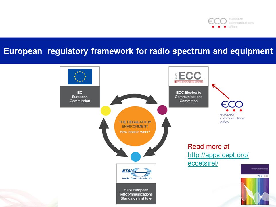 European regulatory framework for radio spectrum and equipment Read more at http://apps.cept.org/ eccetsirel/