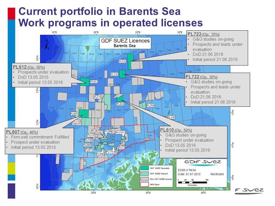 Current portfolio in Barents Sea Work programs in operated licenses 11 PL610 (Op, 50%) G&G studies on-going Prospect under evaluation DoD 13.05 2016 I