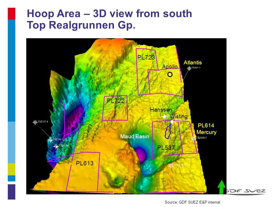 Hoop Area – 3D view from south Top Realgrunnen Gp. 12 Atlantis Apollo Hanssen Wisting PL723 PL722 PL614 Mercury PL613 PL537 Maud Basin Source: GDF SUE