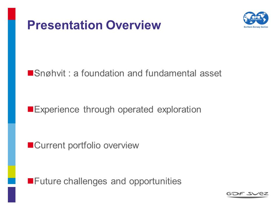 Presentation Overview Snøhvit : a foundation and fundamental asset Experience through operated exploration Current portfolio overview Future challenge