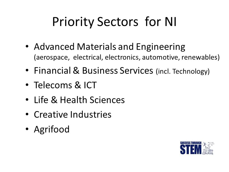 Priority Sectors for NI Advanced Materials and Engineering (aerospace, electrical, electronics, automotive, renewables) Financial & Business Services (incl.