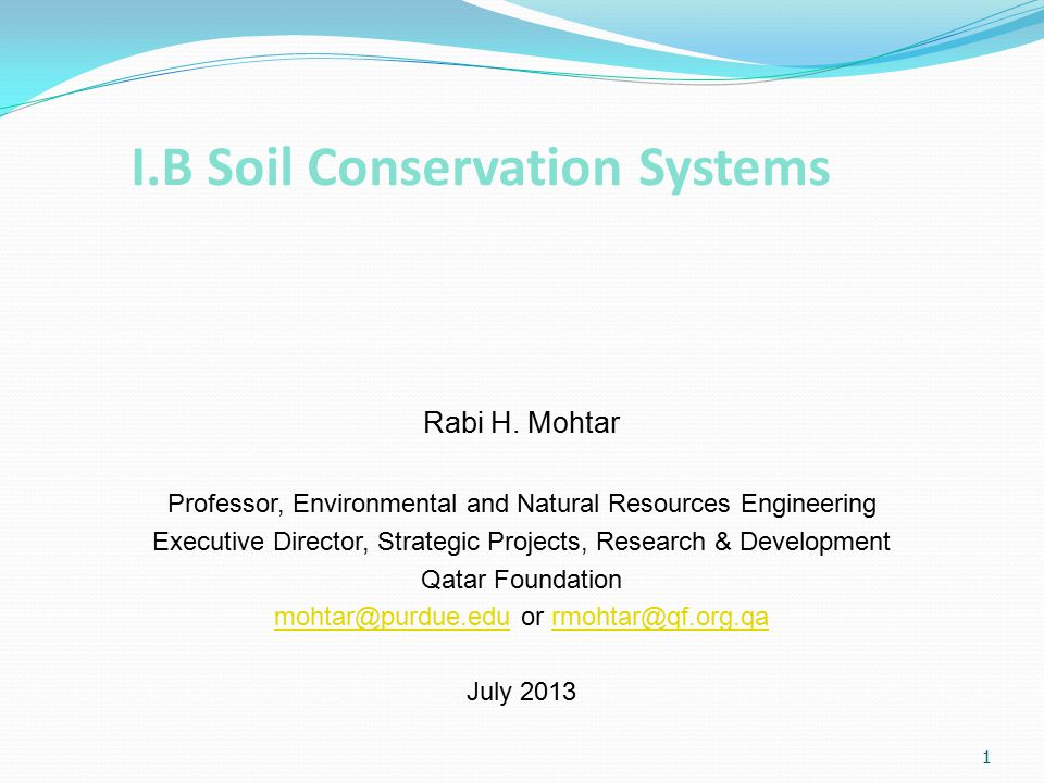 1 I.B Soil Conservation Systems Rabi H.
