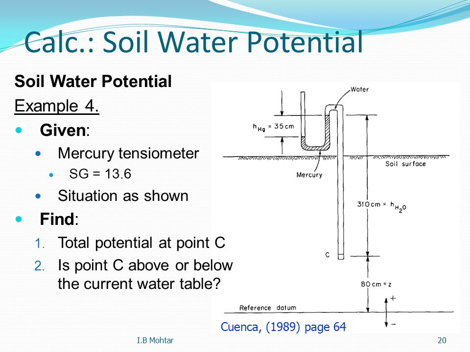 20 Calc.: Soil Water Potential Soil Water Potential Example 4. Given: Mercury tensiometer SG = 13.6 Situation as shown Find: 1. Total potential at poi