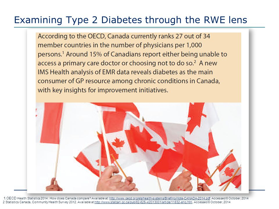 Examining Type 2 Diabetes through the RWE lens 1 1.OECD Health Statistics 2014 : How does Canada compare? Available at: http://www.oecd.org/els/health