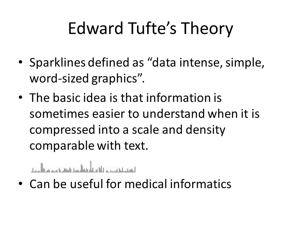 "Edward Tufte's Theory Sparklines defined as ""data intense, simple, word-sized graphics"". The basic idea is that information is sometimes easier to und"
