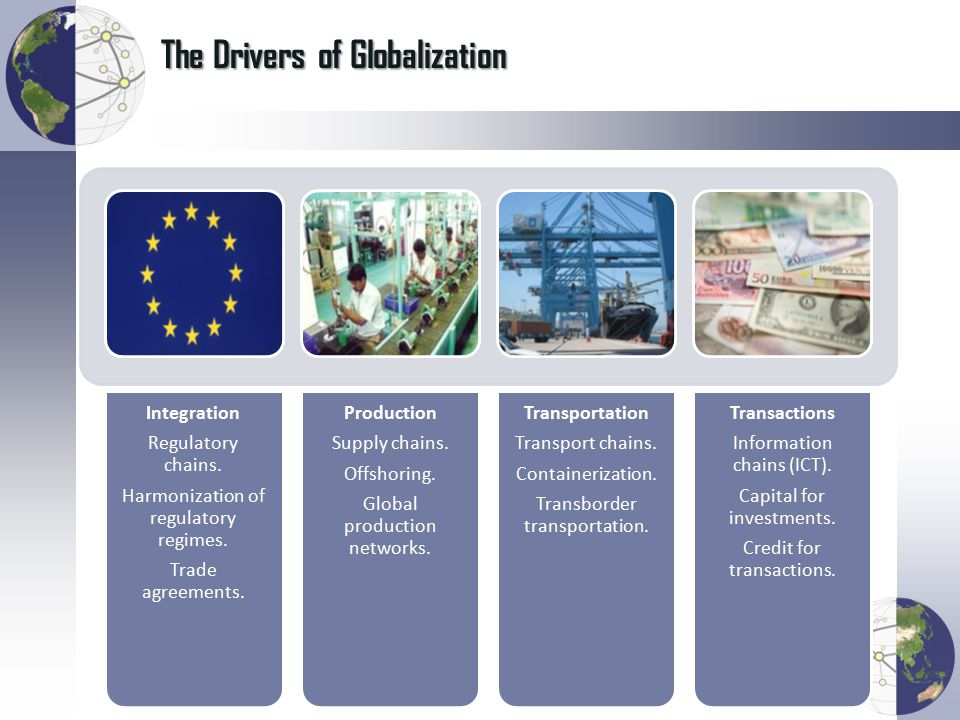 The Drivers of Globalization Integration Regulatory chains.