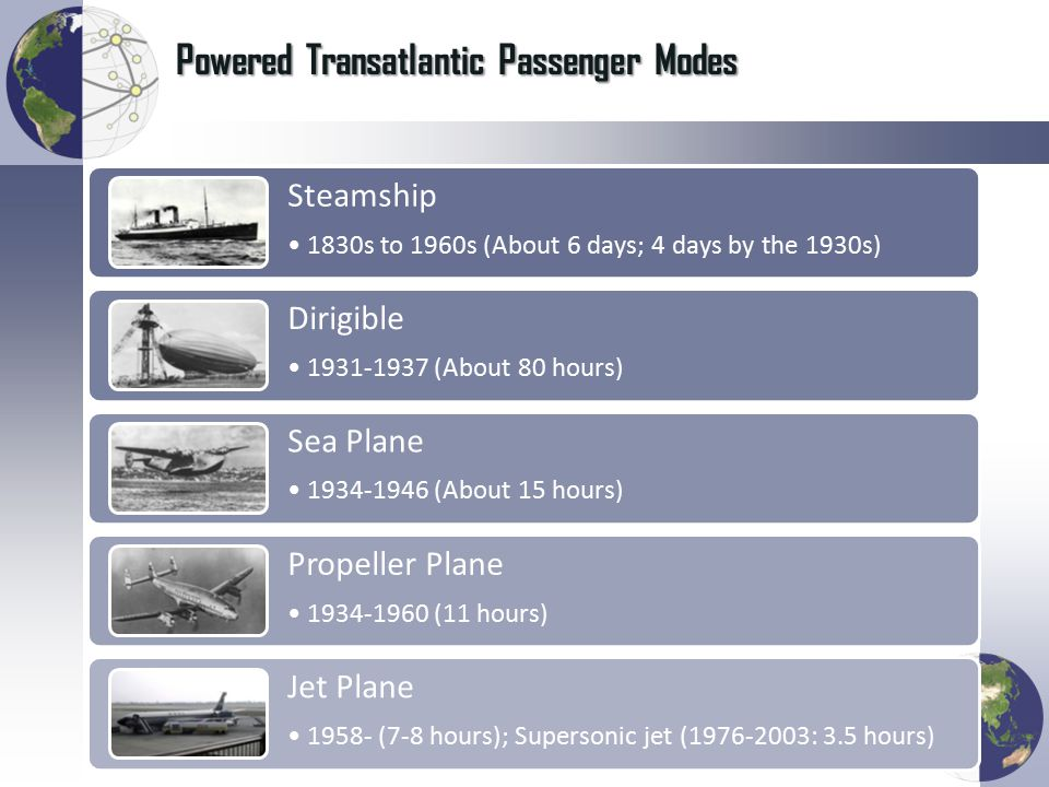 Powered Transatlantic Passenger Modes Steamship 1830s to 1960s (About 6 days; 4 days by the 1930s) Dirigible 1931-1937 (About 80 hours) Sea Plane 1934-1946 (About 15 hours) Propeller Plane 1934-1960 (11 hours) Jet Plane 1958- (7-8 hours); Supersonic jet (1976-2003: 3.5 hours)