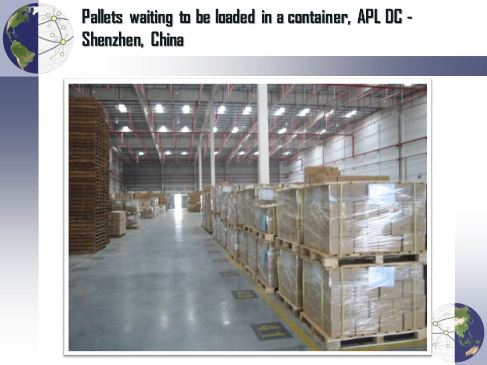 Pallets waiting to be loaded in a container, APL DC - Shenzhen, China