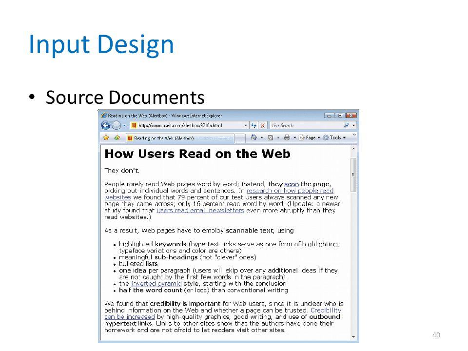 Input Design Source Documents 40