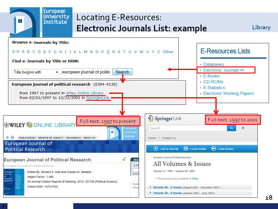 Library Locating E-Resources: Electronic Journals List: example 18 Full-text: 1997 to present Full-text: 1997 to 2001 +