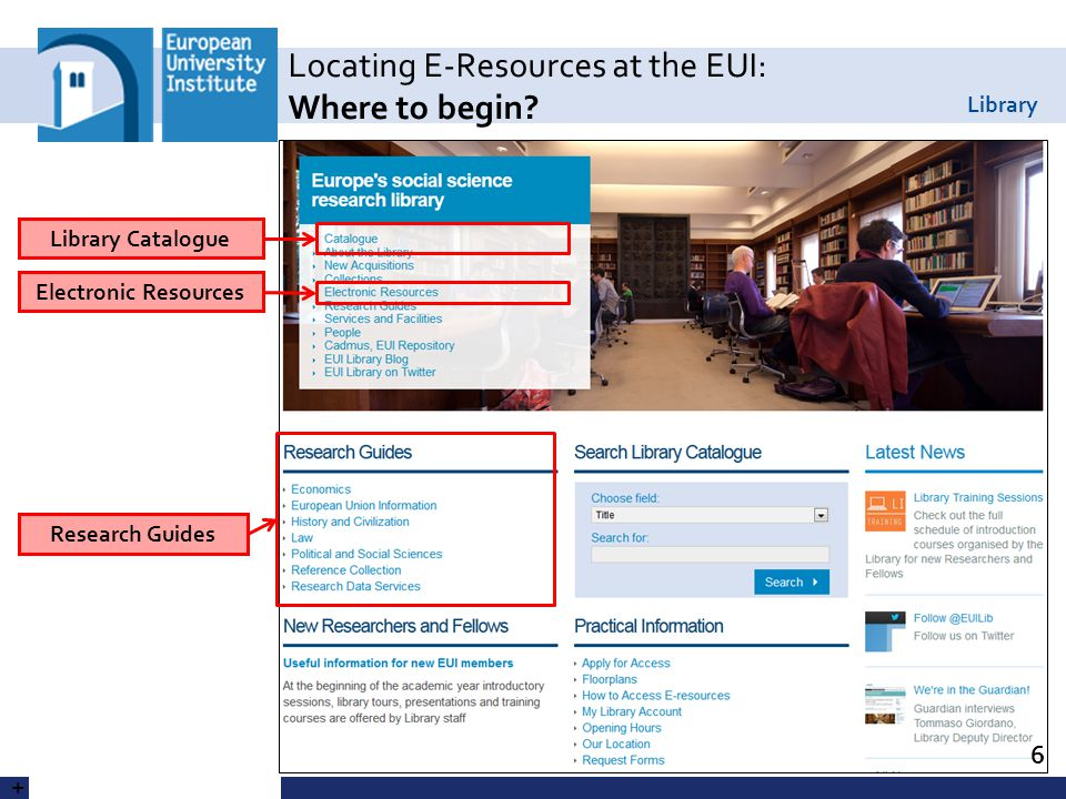 Library Locating E-Resources at the EUI: Where to begin.