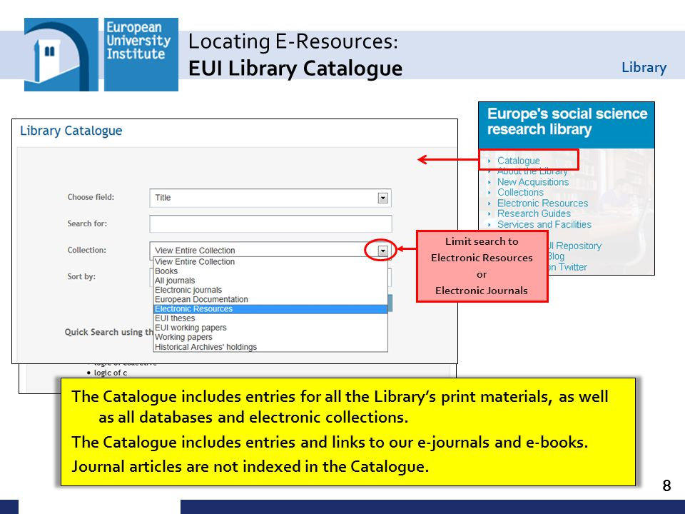 Library 9 Locating E-Resources: Catalogue Search: Databases If you know the title of the database you want to use, a Title search in the Library Catalogue is the quickest way to access it.